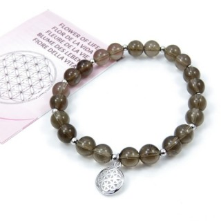 20006-42 SMOKY QUARTZ RHODOIUM PLATED ELASTIC SILVER FLOWER OF LIFE BRACELET