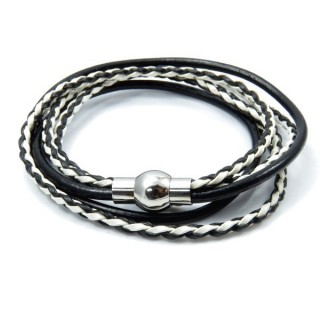 32839 STAINLESS STEEL MENS LEATHER BRACELET