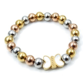 32789 ELASTIC STAINLESS STEEL BALL BRACELET WITH CHARM