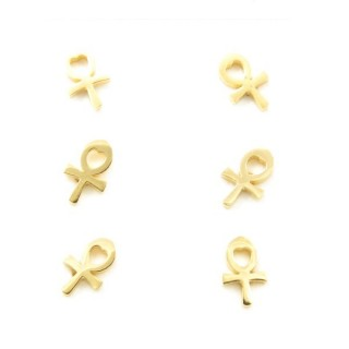 31203-19 PACK OF 3 PAIRS OF GOLDEN STAINLESS STEEL EARRINGS