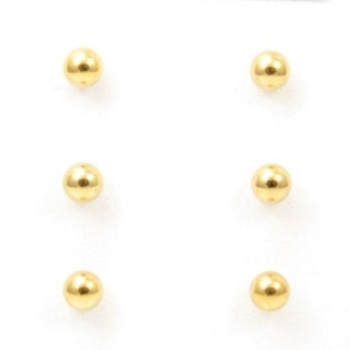 32825-04 PACK OF 3 PAIRS OF 5 MM GOLDEN STEEL BALL EARRINGS