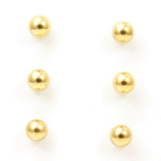 32825-05 PACK OF 3 PAIRS OF 6 MM GOLDEN STEEL BALL EARRINGS