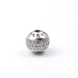 33239 SOLID STERLING SILVER RHODIUM PLATED 8 MM BEAD WITH CUBIC ZIRCONIA & 2 MM HOLE