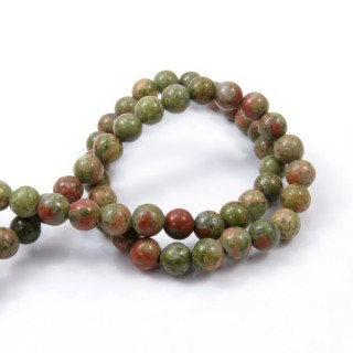 40804 STRING OF 60 BEADS OF 6 MM UNAKITE