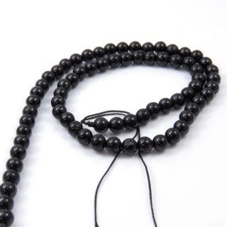 41504 STRING OF 62 BEADS OF 6 MM IN BLACK TOURMALINE