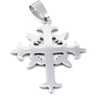32918-03 CROSS SHAPED STAINLESS STEEL 36 X 30 MM PENDANT
