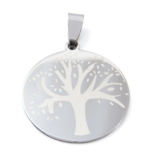 32918-09 TREE SHAPED STAINLESS STEEL 29 MM PENDANT