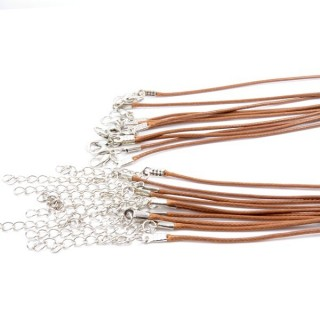 30703-04 PACK OF 10 WAX CORD 45 CM NECKLACES: BEIGE