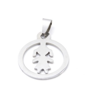 32975-39 GIRL SHAPED 24 MM STAINLESS STEEL PENDANT