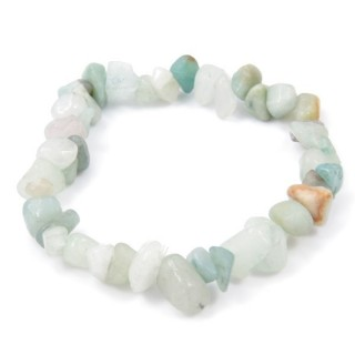 32994-01 ELASTIC NATURAL STONE CHIP BRACELET IN AMAZONITE