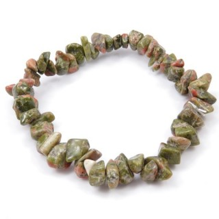 32994-05 ELASTIC NATURAL STONE CHIP BRACELET IN UNAKITE