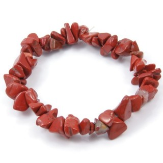 32994-09 ELASTIC NATURAL STONE CHIP BRACELET IN RED JASPER