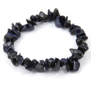 32994-11 ELASTIC NATURAL STONE CHIP BRACELET IN BLUE SANDSTONE