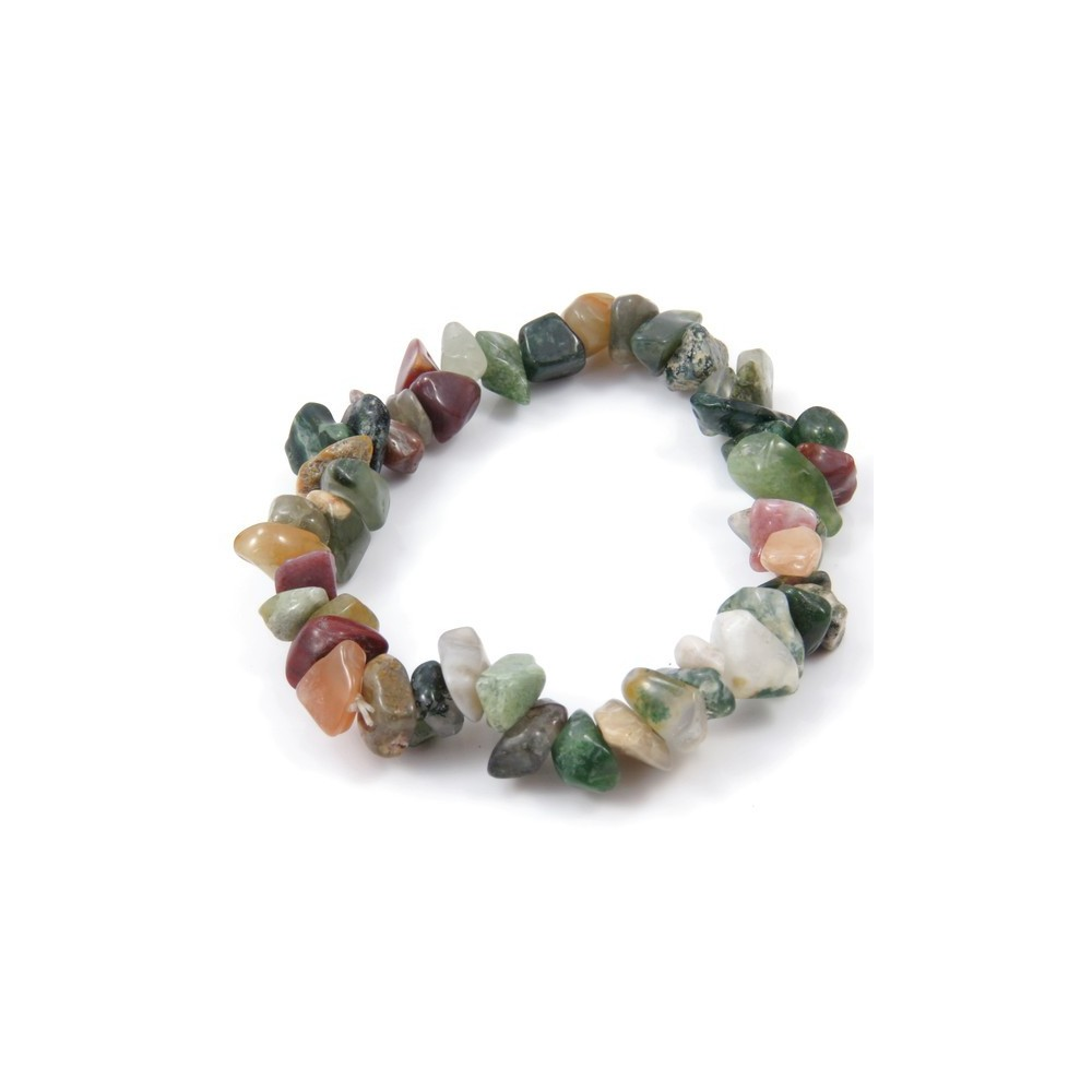 32994-15 ELASTIC NATURAL STONE CHIP BRACELET IN INDIAN AGATE