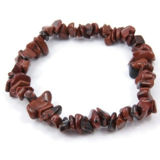 32994-16 ELASTIC NATURAL STONE CHIP BRACELET IN JASPER