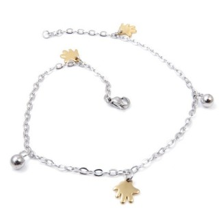 33389-05 STAINLESS STEEL 24 CM ANKLET WITH CHARMS & BALL BEADS