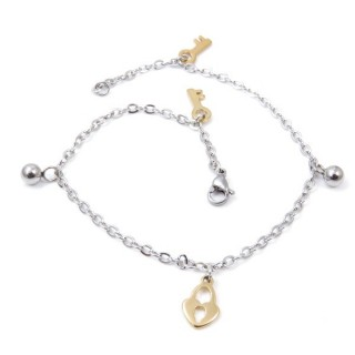 33389-11 STAINLESS STEEL 24 CM ANKLET WITH CHARMS & BALL BEADS