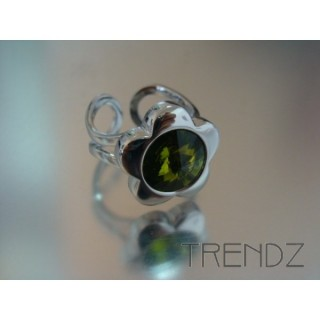 14092 OLIVINE COLOURED CZECH CRYSTAL RING