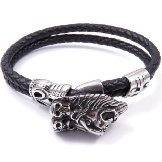 33497 STAINLESS STEEL & LEATHER MENS BRACELET
