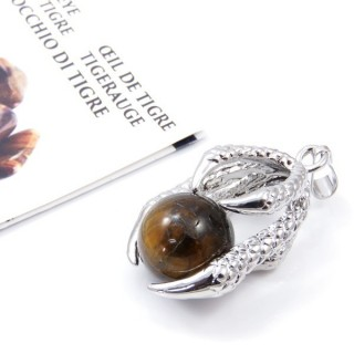 33302-02 METAL CLAW PENDANT WITH TIGER'S EYE BALL