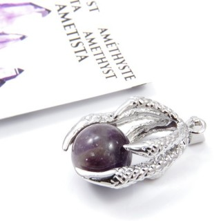 33302-03 METAL CLAW PENDANT WITH AMETHYST BALL
