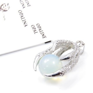 33302-04 METAL CLAW PENDANT WITH OPALINE BALL