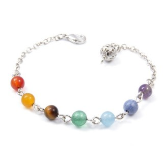 33327 FASHION JEWELLERY METAL BRACELET WITH 7 CHAKRA STONES