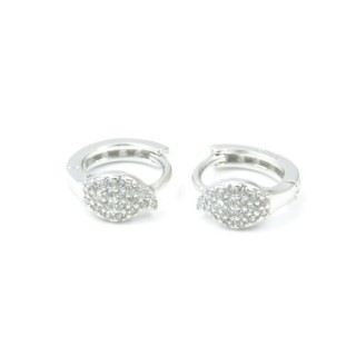 33514 RHODIUM PLATED SILVER LOOP EARRINGS WITH CUBIC ZIRCONIA. DIAMTETER: 13 MM
