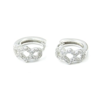 33512 RHODIUM PLATED SILVER LOOP EARRINGS WITH CUBIC ZIRCONIA. DIAMTETER: 14 MM