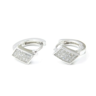 33521 RHODIUM PLATED SILVER LOOP EARRINGS WITH CUBIC ZIRCONIA. DIAMTETER: 13 MM