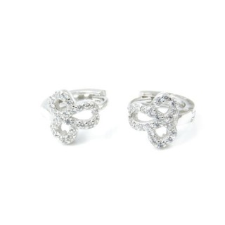 33522 RHODIUM PLATED SILVER LOOP EARRINGS WITH CUBIC ZIRCONIA. DIAMTETER: 13 MM