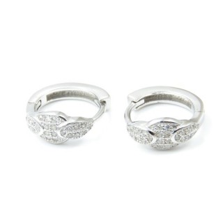 33523 RHODIUM PLATED SILVER LOOP EARRINGS WITH CUBIC ZIRCONIA. DIAMTETER: 15 MM