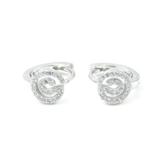 33524 RHODIUM PLATED SILVER LOOP EARRINGS WITH CUBIC ZIRCONIA. DIAMTETER: 12 MM