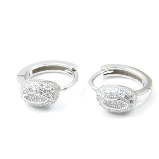33525 RHODIUM PLATED SILVER LOOP EARRINGS WITH CUBIC ZIRCONIA. DIAMTETER: 15 MM