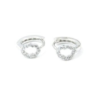 33526 RHODIUM PLATED SILVER LOOP EARRINGS WITH CUBIC ZIRCONIA. DIAMTETER: 12 MM