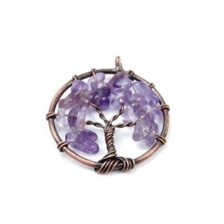 33326-02 METAL 30 MM TREE OF LIFE PENDANT WITH STONES IN AMETHYST