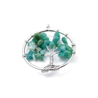 33326-16 METAL 30 MM TREE OF LIFE PENDANT WITH STONES IN AGATE