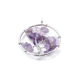 33326-23 METAL 30 MM TREE OF LIFE PENDANT WITH STONES IN AMETHYST