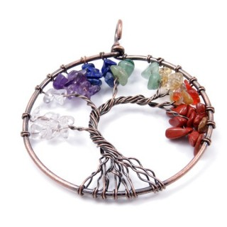 33436-01 METAL 53 MM TREE OF LIFE PENDANT WITH STONES IN 7 CHAKRAS