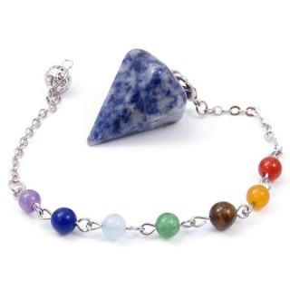 32929-05 NATURAL STONE PENDULUM WITH 7 CHAKRAS