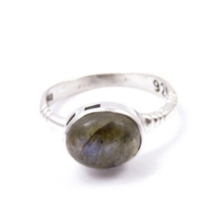 58200-08 ADJUSTABLE 10 X 12 MM SILVER RING WITH LABRADORITE