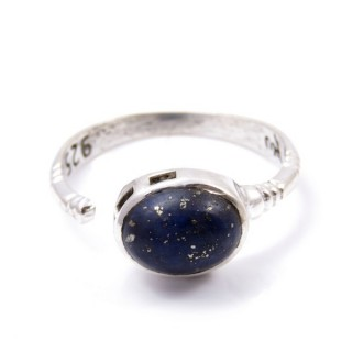58200-02 ADJUSTABLE 10 X 12 MM SILVER RING WITH LAPIS LAZULI