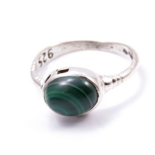 58200-10 ADJUSTABLE 10 X 12 MM SILVER RING WITH MALACHITE