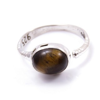 58200-11 ADJUSTABLE 10 X 12 MM SILVER RING WITH TIGER'S EYE