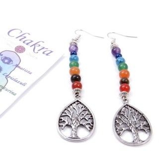 33325-01 7 CHAKRA FASHION JEWELLERY EARRINGS WITH STONE
