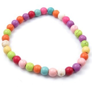 32942-04 ELASTIC 6 MM BRACELET WITH NATURAL STONE: MULTICOLOURED TURQUOISE