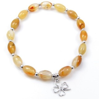 32941-02 NATURAL STONE BRACELET WITH SILVER BEADS & SHAMROCK CHARM