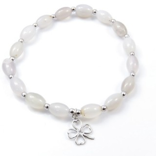 32941-03 NATURAL STONE BRACELET WITH SILVER BEADS & SHAMROCK CHARM