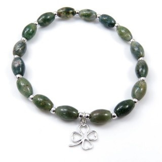 32941-04 NATURAL STONE BRACELET WITH SILVER BEADS & SHAMROCK CHARM