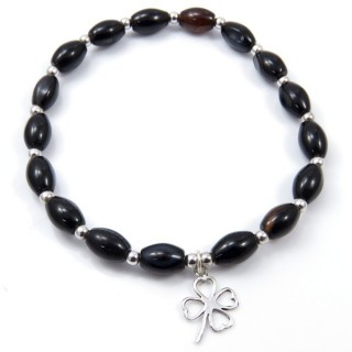 32941-06 NATURAL STONE BRACELET WITH SILVER BEADS & SHAMROCK CHARM